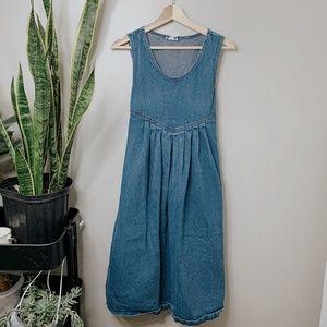 • VINTAGE • medium wash western denim midi dress